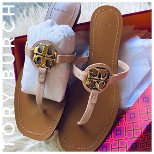 TORY BURCH mini Miller sandals leather gold